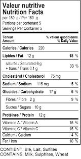 en pot pie nutrition label