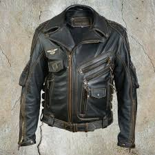 leather classic motorcycle biker jacket