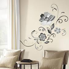 Roommates 5 In X 19 In Black And White Flower Scroll 22 Piece Peel And Stick Giant Wall Decal Rmk2783gm The Home Depot