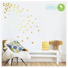 Gold Wall Decals Polka Dots Wall Stickers Vinyl Round Circle Art Stickers Removable Metallic Hanging Decor Decorations For Nursery Room 200 Circles Baby B076bdbbcx