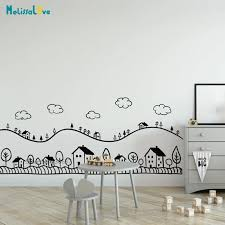Doodled Country Landscape Wall Decal Sticker Nursery Playroom Kids Room Decor Vinyl Wallpaper Ba762 Wall Stickers Aliexpress