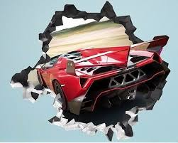 Lamborghini Gallardo 3d Torn Hole Ripped Wall Sticker Decal Art Luxury Car Wt236 Home Garden Decor Decals Stickers Vinyl Art