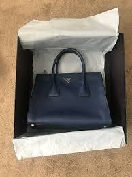 double zip leather tote purse bag blue