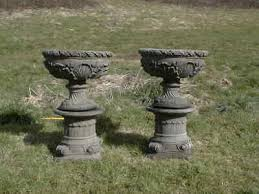 victorian style urns on plinths antique
