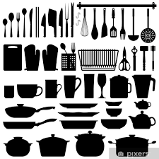 Kitchen Utensils Silhouette Vector Wall Mural Pixers We Live To Change