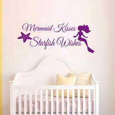 Mermaid Wall Decal Quote Mermaid Kisses Starfish Wishes Girls Room Baby Crib Wall Decal Sticker Vinyl Wall Art Vinyl Wall Art Wall Decals Quoteswall Art Aliexpress