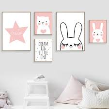 Rabbit Bear Star Dream Big Quotes Wall Art Canvas Painting Nordic Posters And Prints Cartoon Wall Pictures Baby Kids Room Decor Kids Room Murals Kids Room Wall Art Kids Room Poster