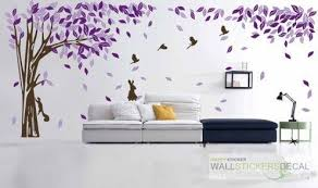 Large Elegant Tree With Bird Rabbit Vinyl Wall Sticker Home Decor Wall Stickers Living Room Wall Stickers Home Decor Purple Walls