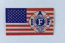 Us Flag With Iaff Logo Helmet Decal Oregon State Fire Fighters Council