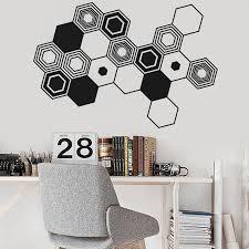 Hexagons Abstract Wall Decal Geometric Wall Art Sticker Office Decor Vinyl Decals Minimalist Abstract Modern Wall Art Mural Y67 Wall Stickers Aliexpress