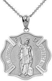 certified 14k white gold saint florian