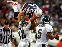 Here's a picture of Duce Staley blocking Bruschi : eagles