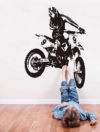 Dirt Bike Wall Decal Motocross Wall Sticker Motorsport Motor Etsy In 2020 Motocross Wall Decals Stunt Bike