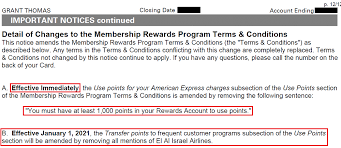 american express gold card terms change