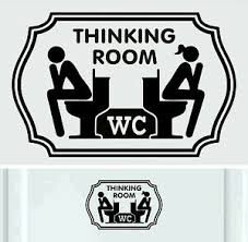 Wc Thinking Room Black Vinyl Sticker Decal Signs Toilet Door Ebay