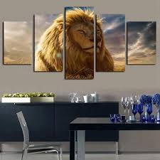 2019 5 Panels Animal Lion King Artworks Giclee Canvas Wall Art For Home Wall Decor Abstract Poster Canvas Print Oil Painting From Home Textiles 18 68 Dhgate Com