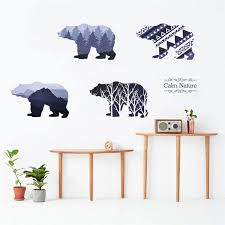 3d Silhouette Polar Bears Wall Art Sticker For Office Shop Bedroom Home Decor Animal Pvc Wall Mural Diy Safari Decal Wall Stickers Aliexpress