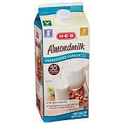 h e b unsweetened vanilla almond milk