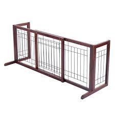 Costway Wood Dog Gate Adjustable Indoor Solid Construction Pet Fence Playpen Free Stand Walmart Com Walmart Com