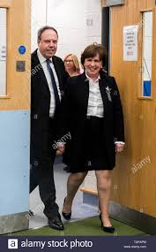 DUP candidate Diane Dodds with her husband Nigel Dodds, arriving to the  European Parliamentary elections count at the Meadowbank Sports Arena in  Magherafelt, Northern Ireland, as counting has begun in the race
