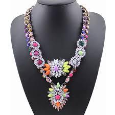 multi color diamond flower pendant