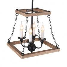 pendant lighting 4 lights rustic wood