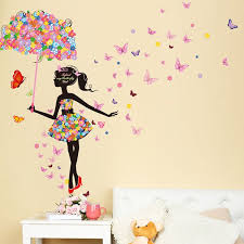Fairy Girl Wall Sticker Butterflies For Girl Rooms Modern Wall Decoration In 2020 Girls Wall Stickers Decal Wall Art Vinyl Decal Diy