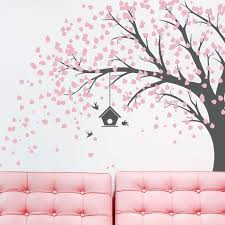Large Windy Tree With Birdhouse Wall Decal Windy Tree Nature Etsy Wall Painting Decor Tree Wall Wall Paint Designs
