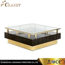 modern square glass wooden coffee table