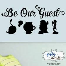 Be Our Guest Beauty And The Beast Vinyl Wall Decal Sticker Disney Silhouettes Quote Vinyl Wall Decals Wall Decal Sticker Small Wall Stickers