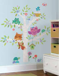 Woodland Baby Birch Tree Wall Stickers Mural 27 Decals Fox Owl Nursery Decor For Sale Online