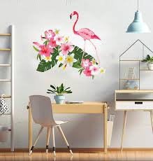 Amazon Com Flamingo Botanical Garden Wall Decoration Big Green Leaves With Pink White And Flowers Vinyl Design Tropical Garden Mural Wall Decal Cg867 42 Width X 38 Height Baby