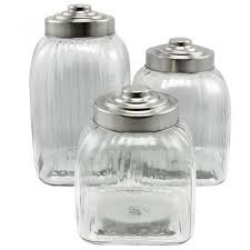 glass 3 piece kitchen canister set