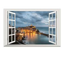New 3d Window Fishing Village Scenery Night Mural View Wall Sticker Fake Window Wall Poster Decorative Home Decor Top Quality Stickers Wall Decals Stickers Wall Decor From Chairdesk 5 13 Dhgate Com