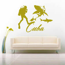 Cuba Scuba Diver Sharks Vinyl Car Window Decal Sticker