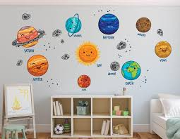 Solar System Wall Decal Planets Wall Decal Sun Nursery Wall Etsy Playroom Wall Decals Playroom Wall Solar System Wall Decal