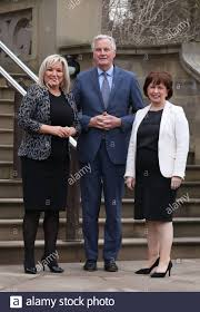 Deputy First Minister Michelle O'Neill (left) and Economy Minister Diane  Dodds (right) meet with Michel Barnier, the EU's Brexit negotiator, ahead  of a meeting at Stormont in Belfast Stock Photo - Alamy