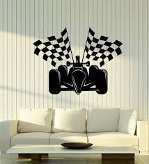 Vinyl Wall Decal Auto Racing Formula 1 Car Racing Flags Stickers 2541 Wallstickers4you