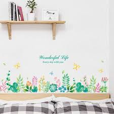 Garden Flowers Home Decor Greenery Leaf Wall Decal Green Plants Art Mural Removable Vinyl Wall Sticker Living Room Bedroom Baby Girls Room Thefuns On Artfire