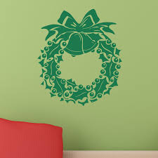 Holly And Berry Wreath With Bow And Bells Christmas Wall Sticker Decal World Of Wall Stickers