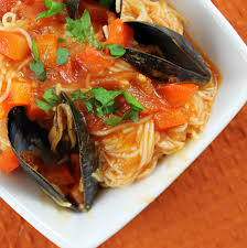 Angel Hair Pasta with Mussels in a Red ...