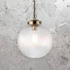 ribbed clear glass globe pendant light