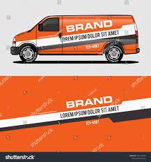 Car Livery Orange Van Wrap Design Stock Vector Royalty Free 1341130595