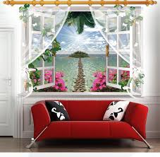 3d False Windows Scenic Landscape Wall Stickers Island Scenery Home Decals Living Room Decoration Adesivo De Parede Wa Window Wall Decor Fake Window Home Decor