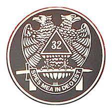 Freemasons Car Emblem Decal Scottish Rite 32nd Degree Scottish Wings Down Bald Eagles Masonic Bumper Decal With Black Background For Freemasons Back Adhesive Sticker Mason Zone