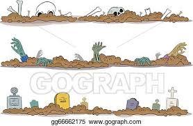 Eps Vector Halloween Graveyard Borders Stock Clipart Illustration Gg66662175 Gograph