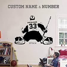 Customized Hockey Player Wall Sticker Boys Personalized Name Number Vinyl Decal
