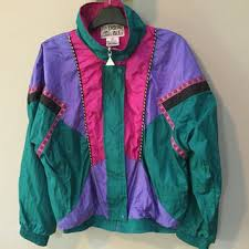 vintage 80s jacket colorful nylon from