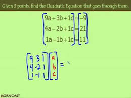 3 points to a quadratic equation