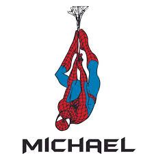 Spider Man Web Hanging Super Hero Customized Wall Decal Custom Vinyl Wall Art Personalized Name Baby